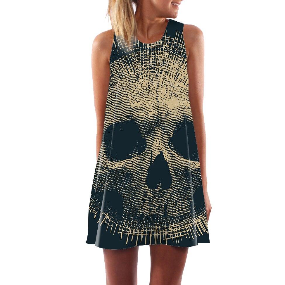Sexy Dresses 2018 Creative Women Summer Dress Sleeveless Animal skull Floral Heart Short Dress Boho Beach Dresses Vestido Maxi