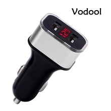 VODOOL 5V 1A 2.1A Dual USB Car Charger Adapter Voltage Current Digital LED Diaplay for Mobile Phone iPhone Samsung USB Charger