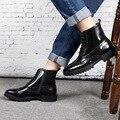Alta Qualidade Homens Botas de Tornozelo Lace-Up Zíper Lateral Botas de Couro Genuíno Respirável Sapatos para Homem Bota Masculina