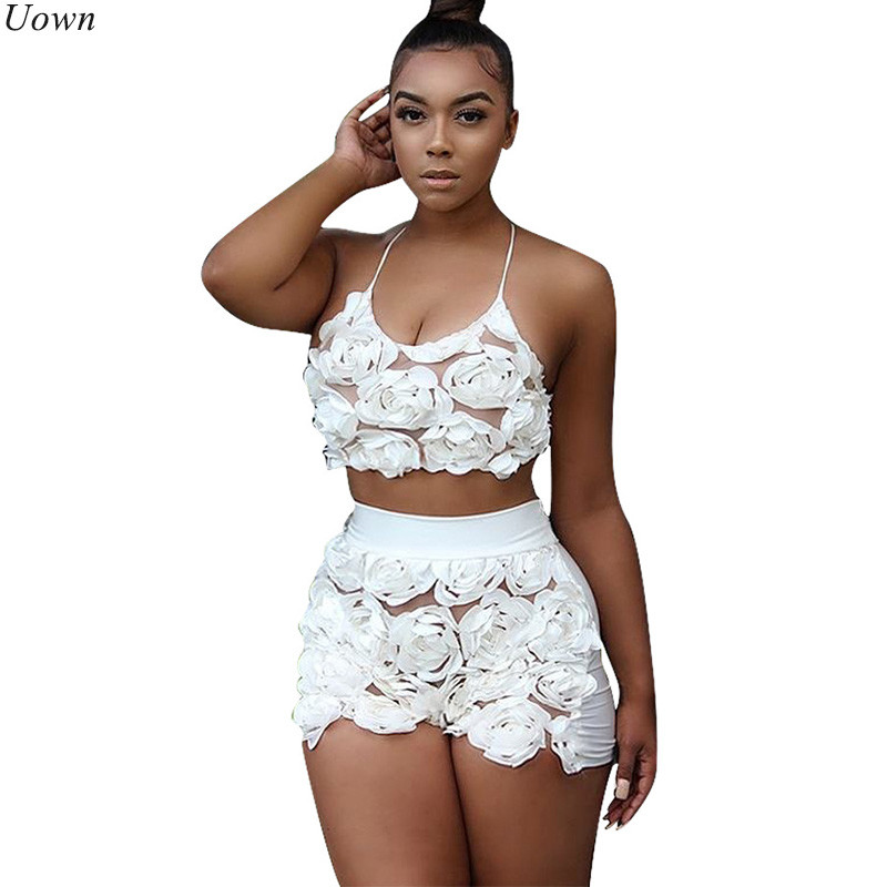 Doyerl Mujeres Trajes de dos piezas Top de tubo de malla floral y pantalones cortos Hollow Out Casual Halter Trajes de fitness Summer Club Party Sets