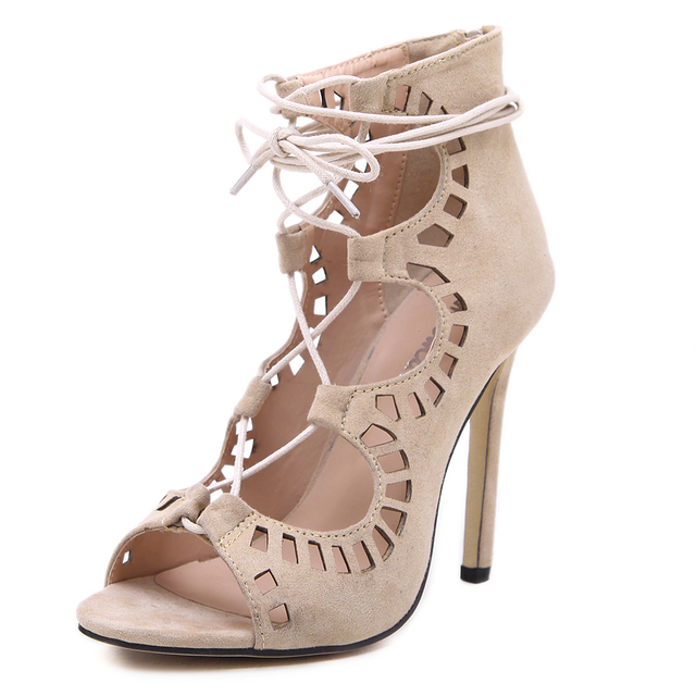 Women's Cut-Outs Open Toe Lace Up High Heel Sandals