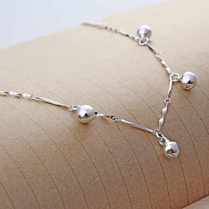 女性の流行のラブリーベル形状足首チェーンブレスレット固体 925 スターリングシルバーチェーンリンク足首ブレスレットゴージャスな宝石類のギフト