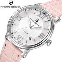 Paganiออกแบบสุภาพสตรีแฟชั่นนาฬิกาควอตซ์ผู้หญิงหนังชุดลำลองนาฬิกาของผู้หญิงRose G Oldคริสตัลreloje mujer