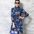Новая женская реального темперамент искусства печать свободного покроя с длинным ковбой цветок печатных элегантный жан женского платья