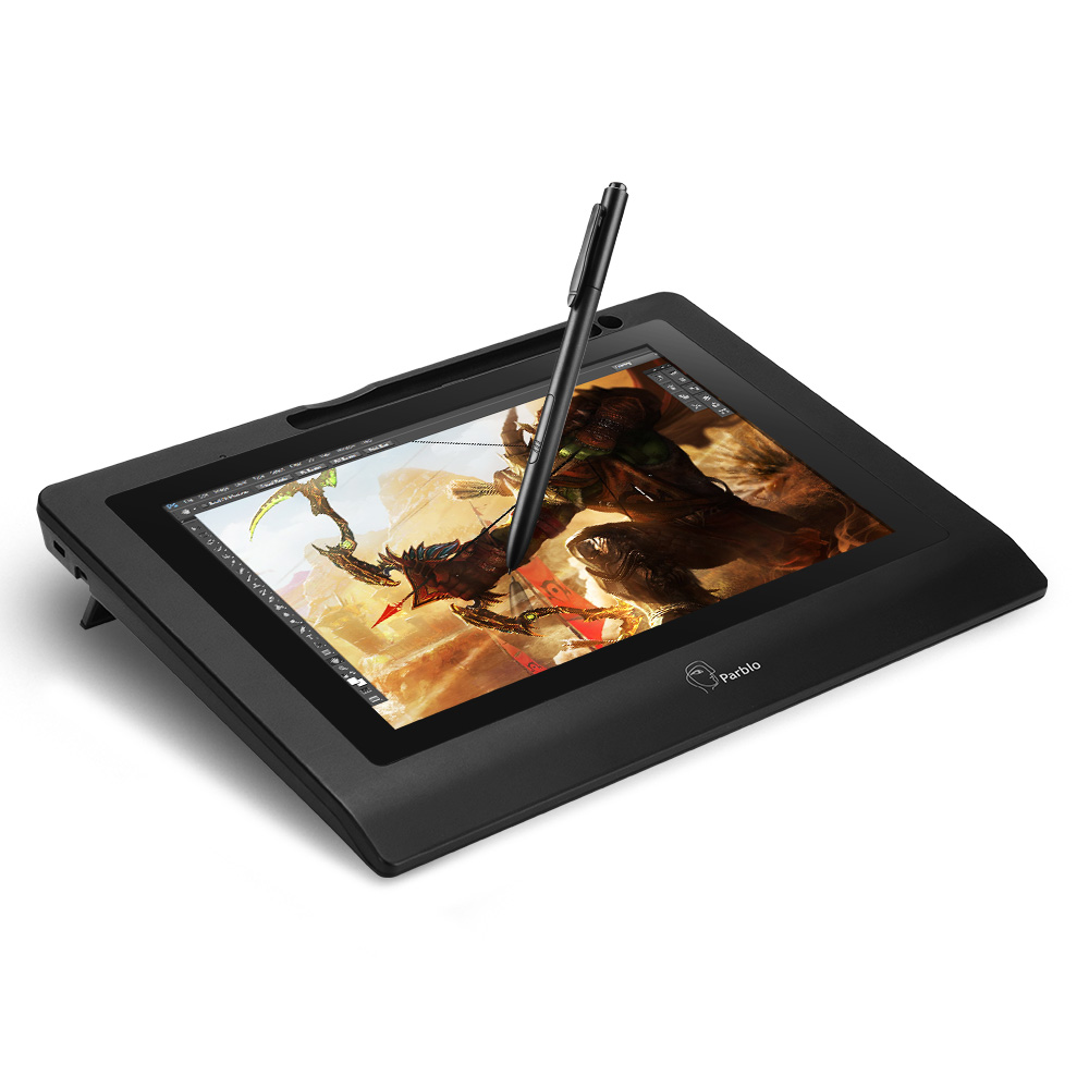 Parblo Coast 10 Graphic Monitor 10 Screen Drawing Tablet with Battery free Pen Support Win Mac