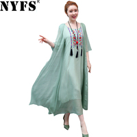 NYFS 2019 New Summer dress Vintage loose embroide long dress Fake two pieces Dress Slim Vestidos Elbise Robe