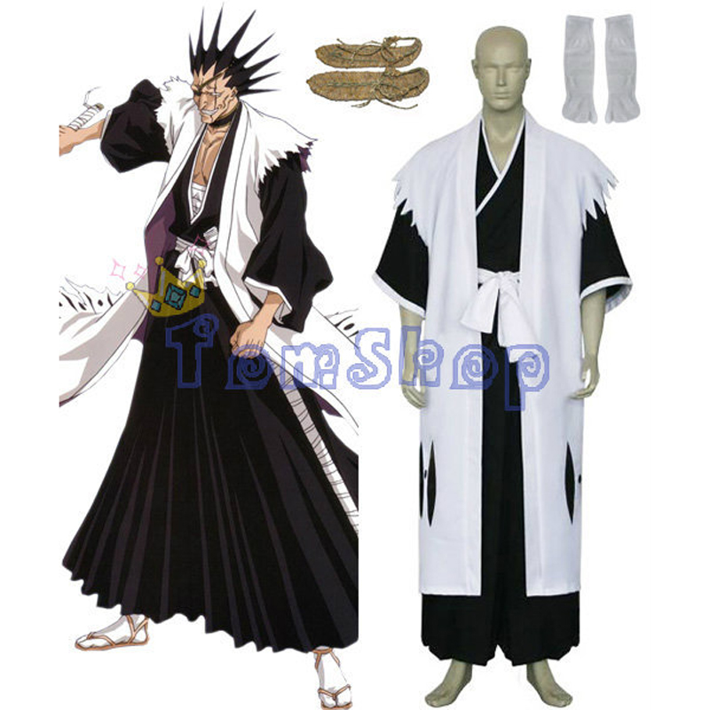 Bleach 11th Division Captain Zaraki Kenpachi Cosplay Kimono Uniform Suit Men's Costumes with Sandals Custom-made free shipping