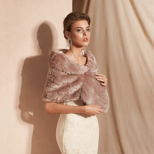 Image 3 - Fur Stole Bridal Bolero Nữ Nhún Vai Faux Lông Khăn Choàng Đám Cưới Áo Khoác Đi Bộ Bên Cạnh Bạn Bên Buổi Tối Áo Choàng Lông Bọc Tối màu hồng