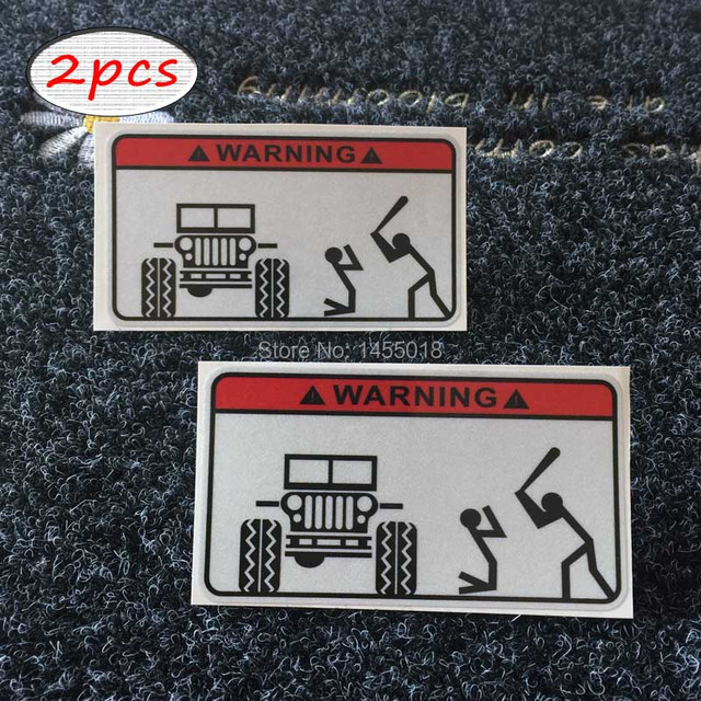 2x funny warning bumper sticker decal car covers styling stickers for jeep label 4x4 truck tool