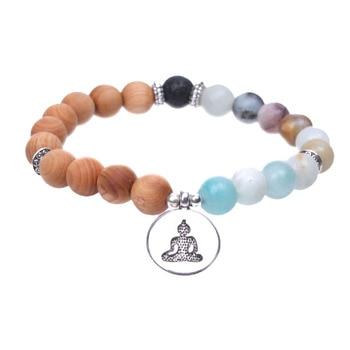 Bracelet avec Bouddha en Bois et en Pierre Naturelle