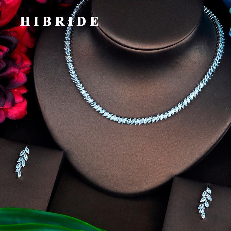 HIBRIDE Brilliant Marquise Cut Cubic Zirconia Stone Women Jewelry Set Earring Sets Bride Dress Accessories Wholesale Price N 406