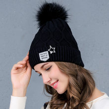 Hot Double-deck Knitted Real Natural Fur tuque Pompon Hat Female Winter Braid Cap Headgear For Women Skullies Beanies(China)