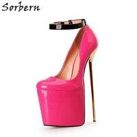 Sorbern большой Размеры eu40 50 туфли лодочки с завязками на лодыжках на толстой платформе 22 см металлическом ультра Высокие каблуки шпильки Женс