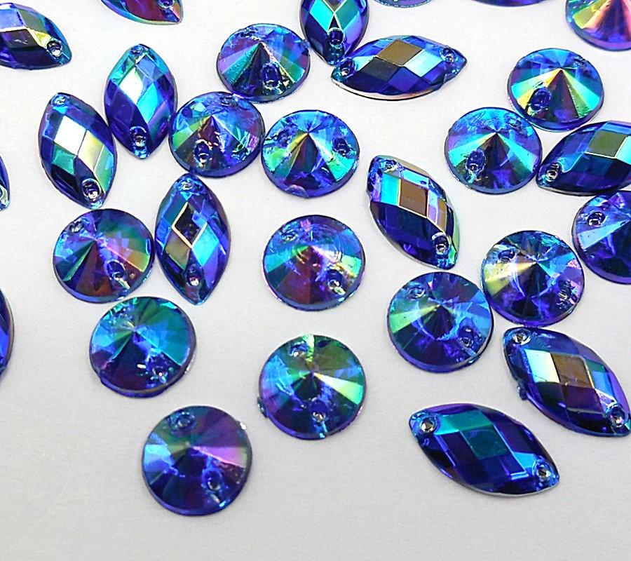 Coser sobre Stitch 10x Mármol Azul Joya 12mm Gema De Cristal Adorno de Strass Dance