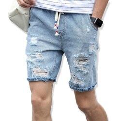 2019 الرجال السراويل العلامة التجارية الصيف جديد الرجال شورت جينز زائد حجم الأزياء المصممين السراويل جينز قطني الرجال ضئيلة شورت جينز الرجال