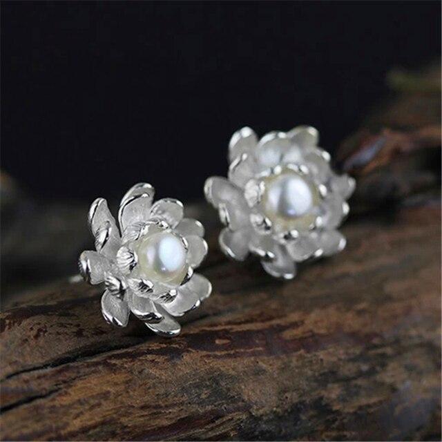 Стерлингового Серебра 925 Lotus Серьги для Женщин Натуральный Жемчуг Ювелирные Изделия Ручной Работы Подарок