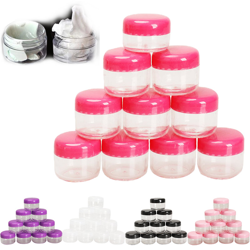 10Pcs Cosmetic Empty Jar Pot Eyeshadow Makeup Face Cream Container Empty Cosmetic Containers Cosmetic Sample Containers Sale 10pcs 5g cosmetic empty jar pot eyeshadow makeup face cream container bottle acrylic for creams skin care products makeup tool