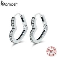BAMOER Classic Authentic 100 925 Sterling Silver Heart Shape Clear CZ Hoop Earrings For Women Sterling