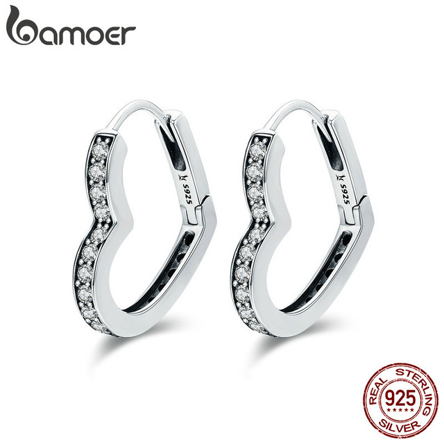 Bamoer Clic Authentic 100 925 Sterling Silver Heart Shape Clear Cz Hoop Earrings For Women