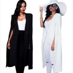 Осенняя Женская Длинная накидка Блейзер Пальто накидка Кардиган Куртка тонкая офисная простая белая блейзеры пальто Ol костюм черная