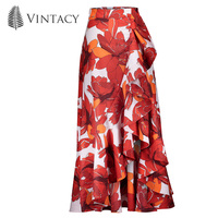Vintacy 여성 미디 스커트 레드 인쇄 꽃 주름 보헤미안 비대칭 높은 허리 치마 주름 프릴 패션 분할 여름 스커