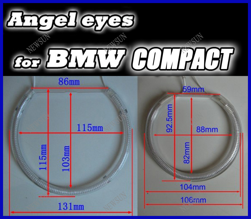 Free shipping CCFL angel eyes halo rings car light headlight kits for BMW E46 Compact super bright ccfl car lighting free shipping ccfl angel eyes for bmw e90 e90 non projector halo ring e90 ccfl angeleyes lights