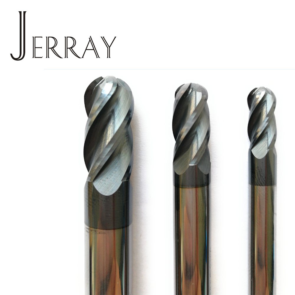 6mm,8mm,10mm, 12mm HRC45 Solid Carbide 4 Flutes Ball Nose End Mills Spiral Bit Milling Tools CNC Router Bits