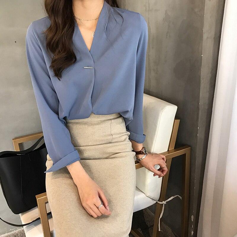 2018 Las Azul Moda V 1721 En Plus Cuello Blusa Blusas Y Mujeres 50 Blusas Mujer Gasa verde Tops De rojo Tamaño blanco awYUZa4q