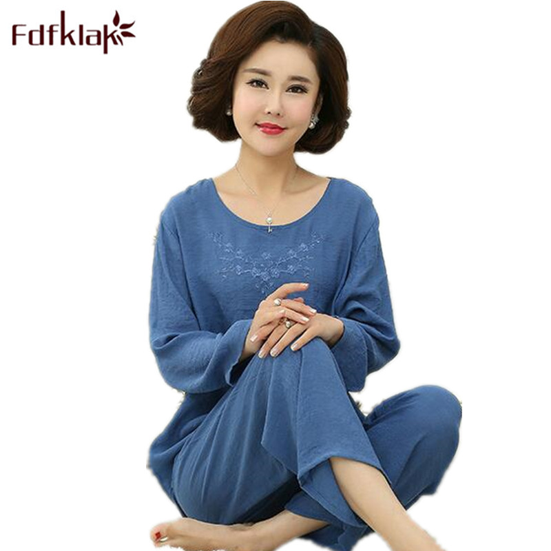 Fdfklak XL XXL 3XL 4XL Large Size Female Home Suit Spring Autumn Long Sleeve Women Pijamas Sleepwear Sets Pyjama Femme CotonQ598