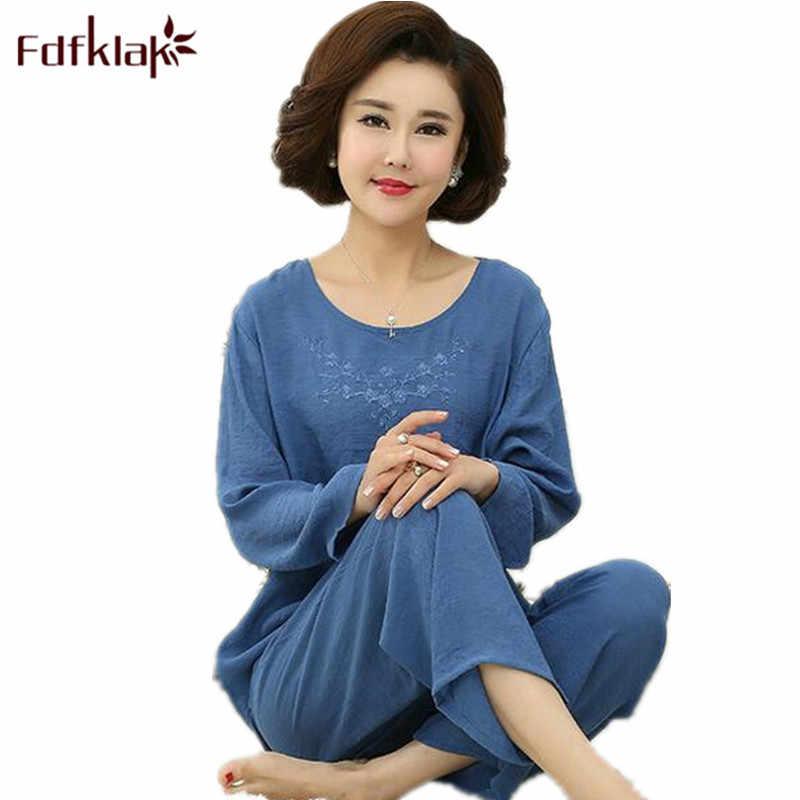 Fdfklak XL XXL 3XL 4XL talla grande mujer traje de Casa primavera otoño manga larga Mujer Pijamas ropa de dormir conjuntos pijama Mujer cotonQ598