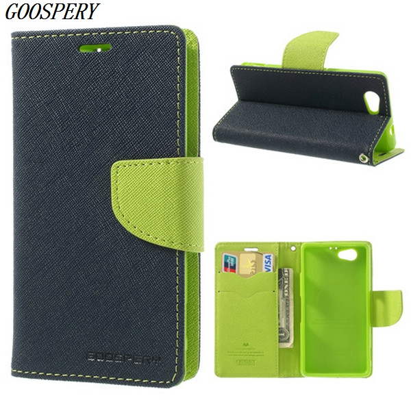 For Sony Xperia Z1 Compact Case Mercury GOOSPERY Fancy Diary Wallet Style Leather Flip Case for Sony Xperia Z1 Compact D5503