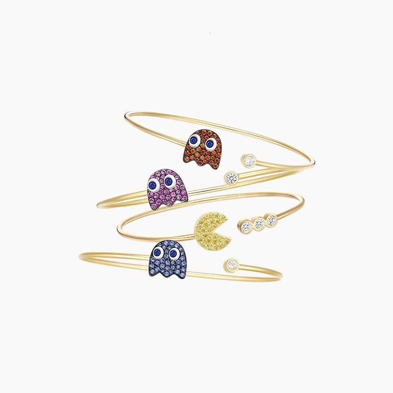 ZOZIRI HF jewelry pac-man cuff bracelet , women S925 silver sterling crystal cz cute mini charms pac man ghost pacman bangle mini ring decorated cuff bracelet