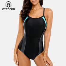 Attraco One Piece Women Sports Swimwear Swimsuit Colorblock Monokini Beach Bathing Suit Bikini