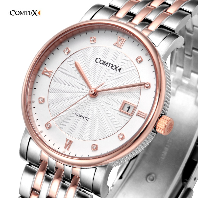 2017 Luxury rose gold wrist watch men sapphire Stainless Steel Strap Watch Quartz Movement Water Resistant Calendar watch gift classic luxury formal unisex dress quartz men women wrist watch rose golden metallic strap decorational subdial gift box