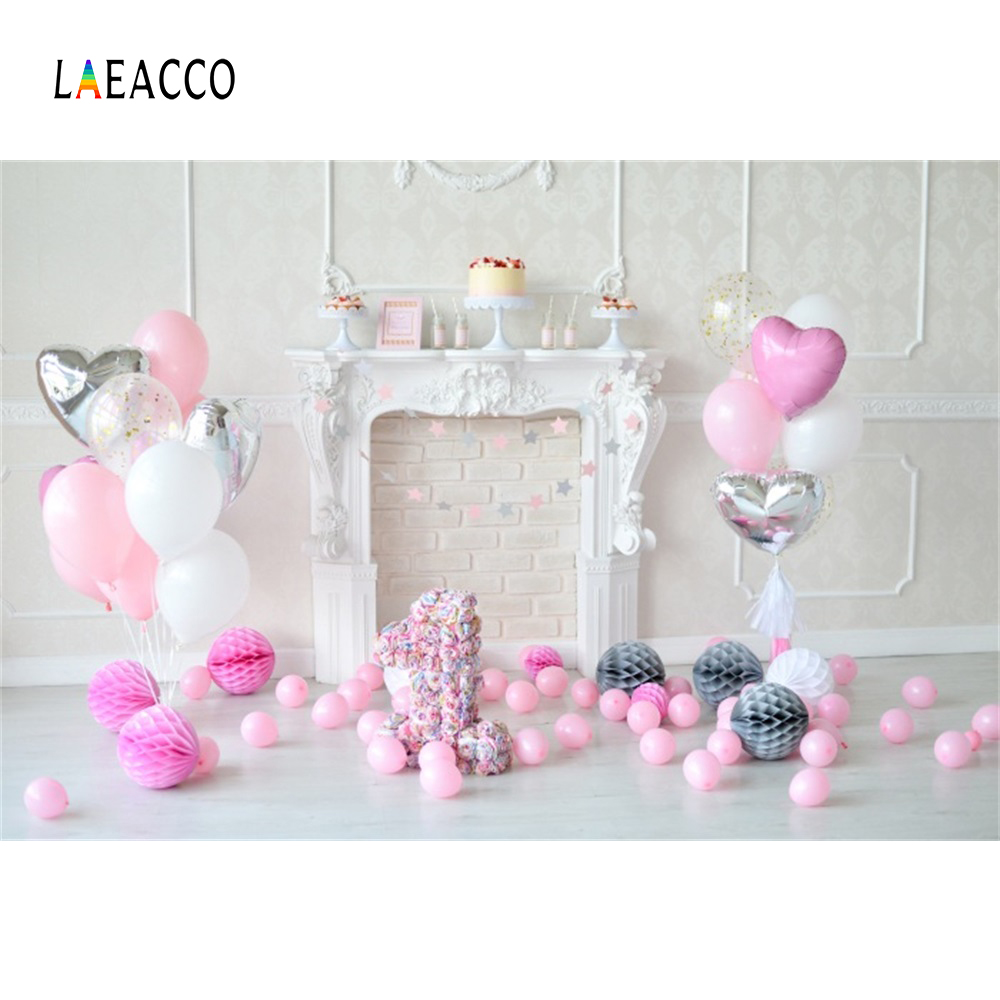 Laeacco Pink Balloons Fireplace 1st Birthday Baby