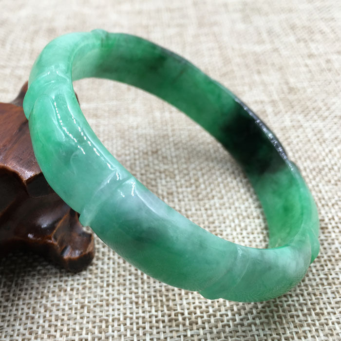 FREE SHIPPING>>>@@ 61mm Vintage Chinese Hand-carved Green stone stone Bracelet Bangle 993 NEW