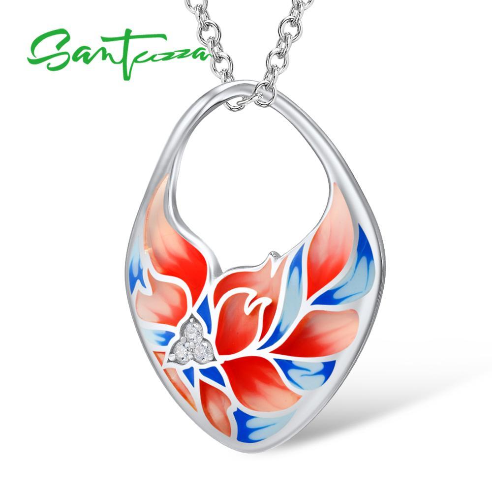 SANTUZZA Silver Necklaces Pendants 925 Sterling Silver White Cubic Zirconia Luxury For Women Flower Enamel Handmade Fine Jewelry