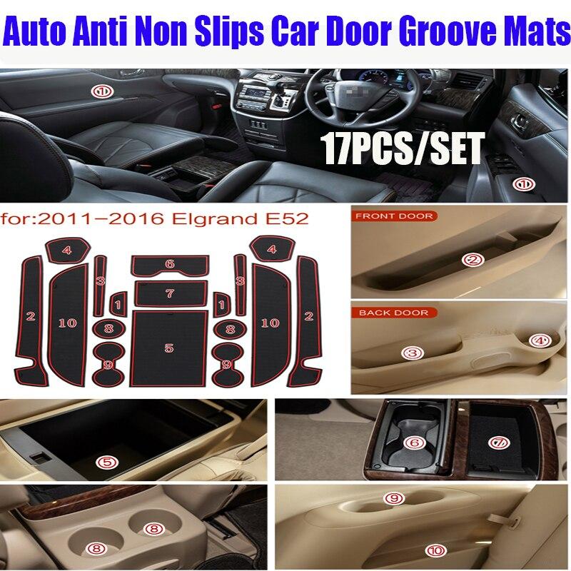 For Nissan 2011-2016 Elgrand E52 Auto Accessories 17pcs Anti Non Slips Car Door Groove Mats Car Gate Slot Mats Door Pad/Cup Mats