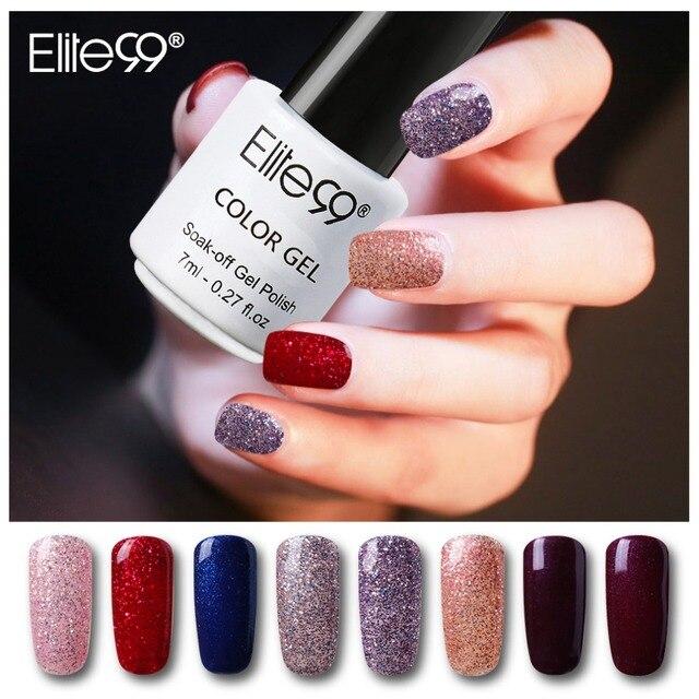 Elite99 Wenig Glitter 7 ml Nagel Gel Polnisch Glänzende Tränken Weg Vom LED UV Gel Lack 7 Elegante Farbe Primer Für gewählt Nail art Kleber