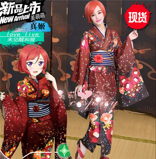 Аниме LOVE LIVE! Nishikino Маки фигурку печати вечерние платье в стиле «лолита» платье форма Косплэй кимоно костюм Любой Размер Новый