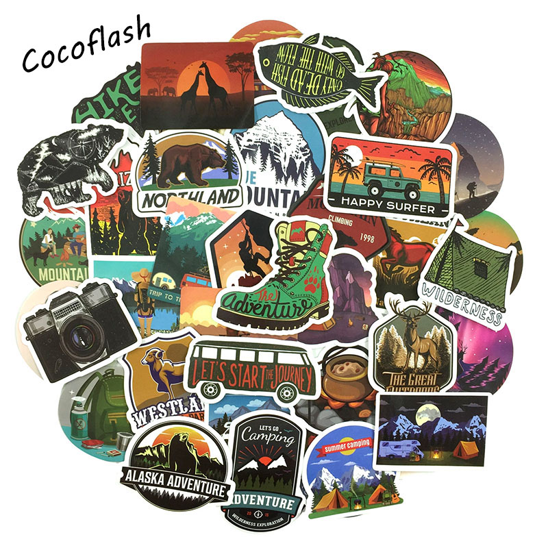 50PCS Adventure Travel Hotel Graffiti Sticker For Suitcase Moto Car Uitcase Laptop Skateboard  Decal DIY Waterproof Sticker