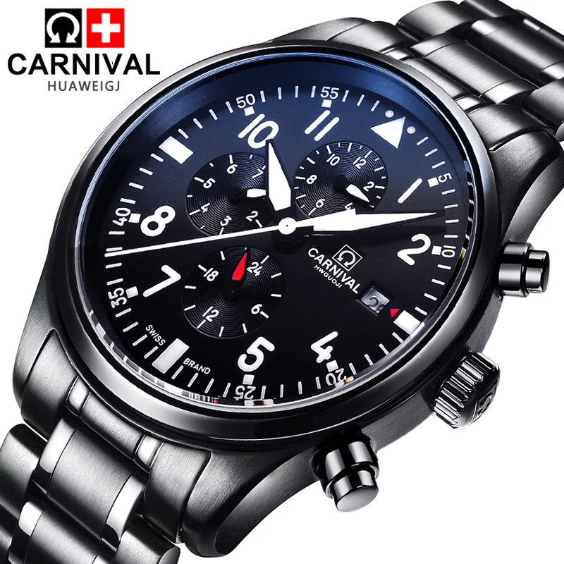Luxury Brand Carnival pilot series Automatic mechanical watches Stainless Steel Men s Casual Watch military Waterproof