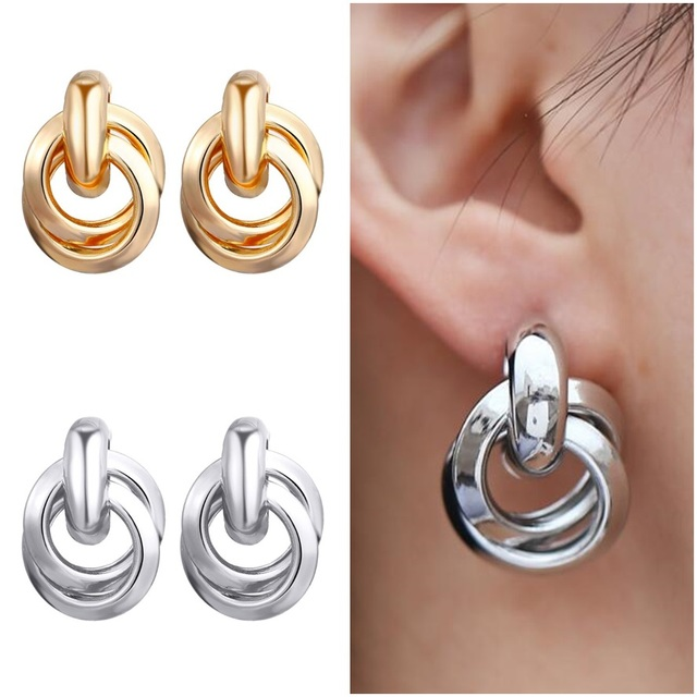 7db52672f 2018 New Gold Silver Hoops Earrings Minimalist Thick Tube Round Circle  Rings Earrings For Women Zinc Alloy Trendy Hiphop Rock