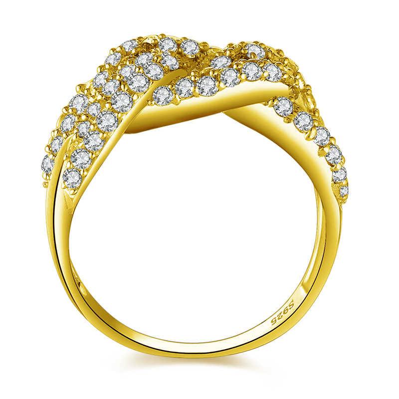 AINUOSHI 14 K Gold Link Chain แหวน Shinning เพชรจำลอง CZ กว้างงานแต่งงานแหวนหมั้นแหวนสำหรับผู้หญิง