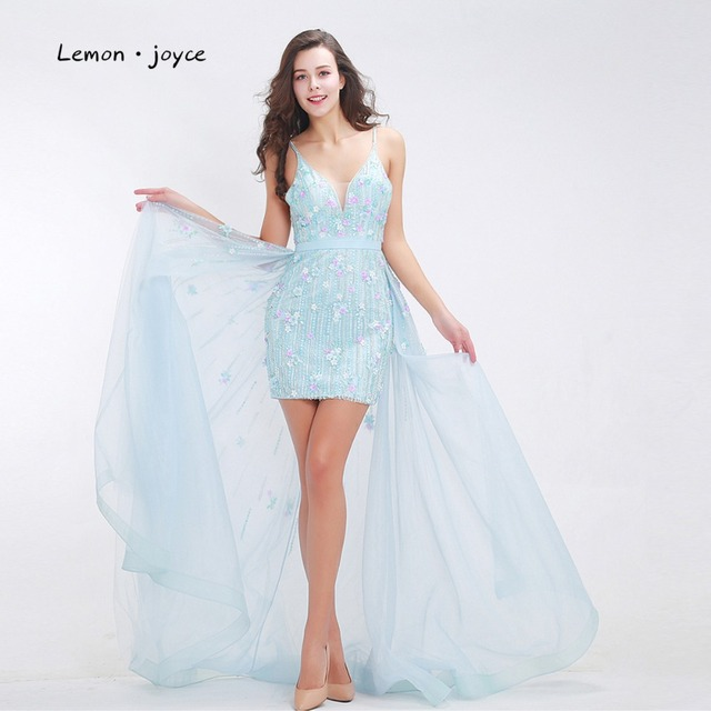648b8f8074a Fashionable Baby-Blue Prom Dresses 2019 Luxury Floral Appliques Beading Sexy  Short Dress with Cloak Tulle Party Gowns Plus Size