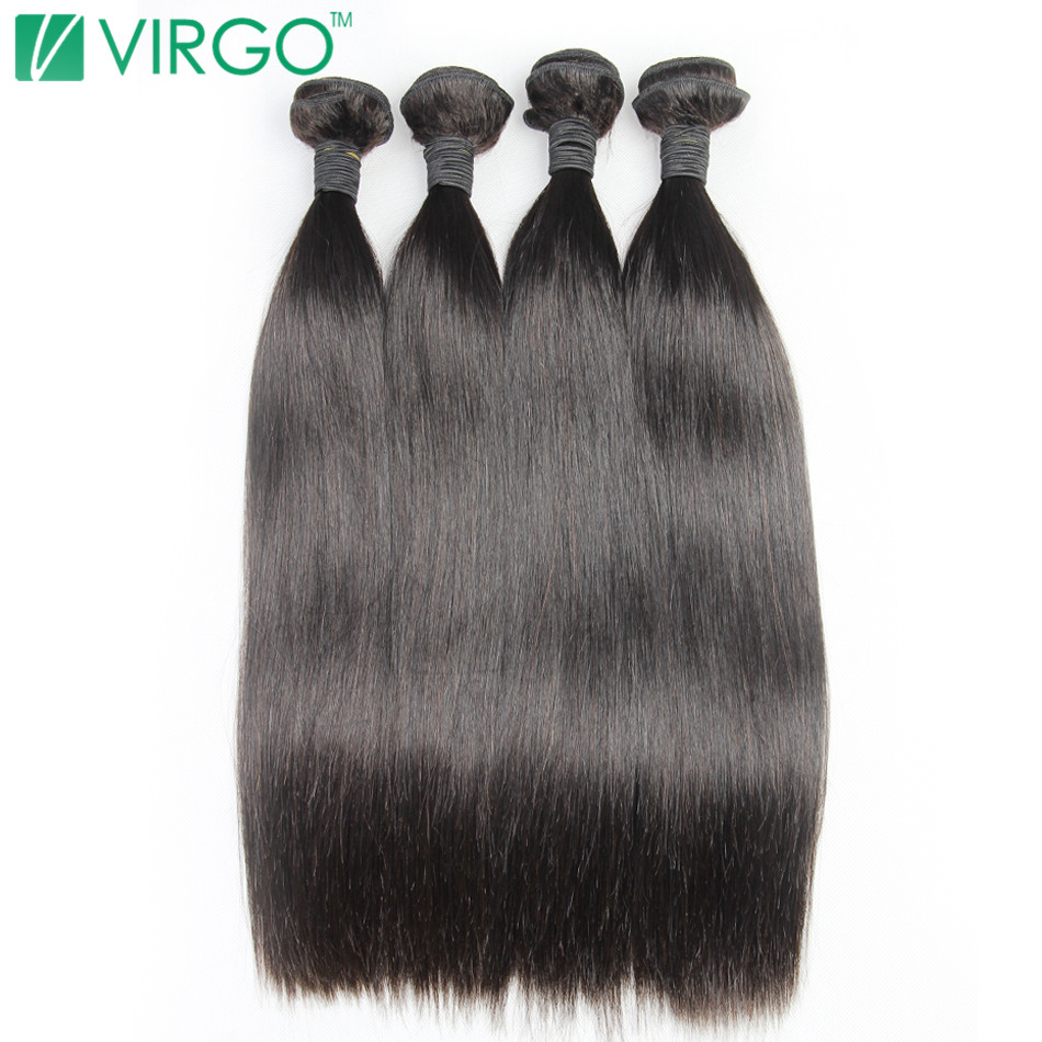 Effizient Virgo 1/3/4 Bundles Brazilian Glattes Haar Menschenhaar Weben Bundles Extensions Unverarbeitete Reine Haar Bundles üBerlegene Leistung Echthaarverlängerungen Haarverlängerung Und Perücken