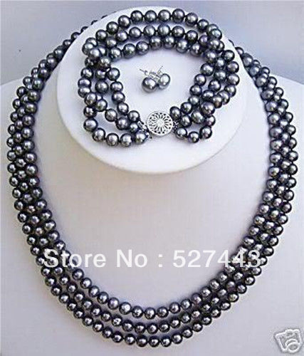 Wholesale free shipping >>3 rows Natural cultured black pearl necklace bracelet earrings set classical malachite green round shell simulated pearl abacus crystal 7 rows necklace earrings women ceremony jewelry set b1303
