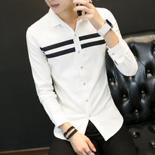 2018 Spring and Autumn Men s New Fashion Men s Stripes Solid Color Shirt Fashion Lapel