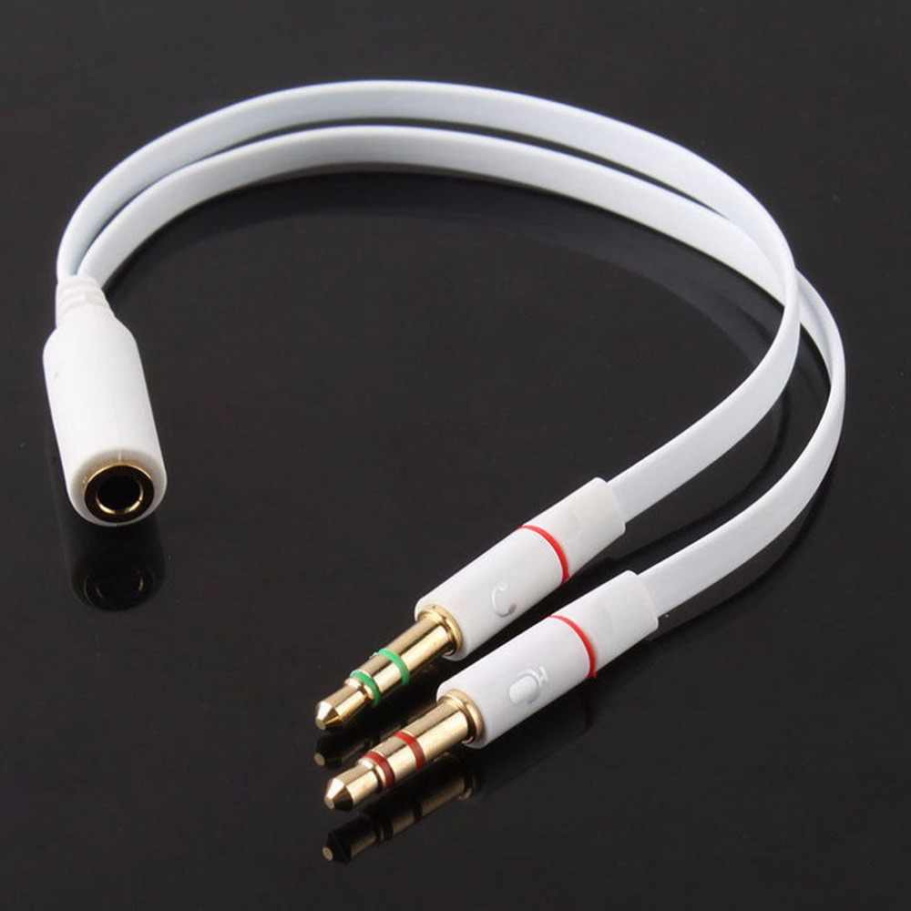 Newest 3.5mm Gold Plated Audio Mic Y Splitter Cable Headphone Adapter Female To 2 Male Cable for PC Laptop etc White