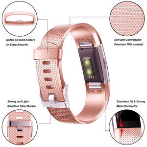 Image 4 - Honecumi Wrist Band For Fitbit Charge 2 TPU Watchband Accessory Wrist Strap For Fitbit Charge 2 Rose Gold/Silver Bracelet